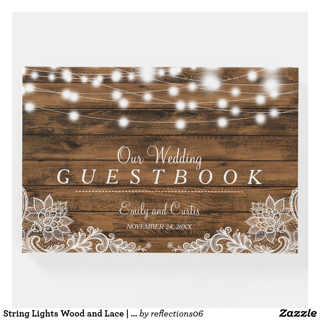 String Lights Wood and Lace | Wedding Guest Book