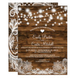 String Lights Wood and Lace Wedding Invitation