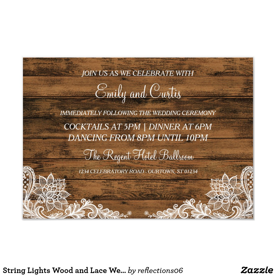 String Lights Wood and Lace Wedding Reception Card