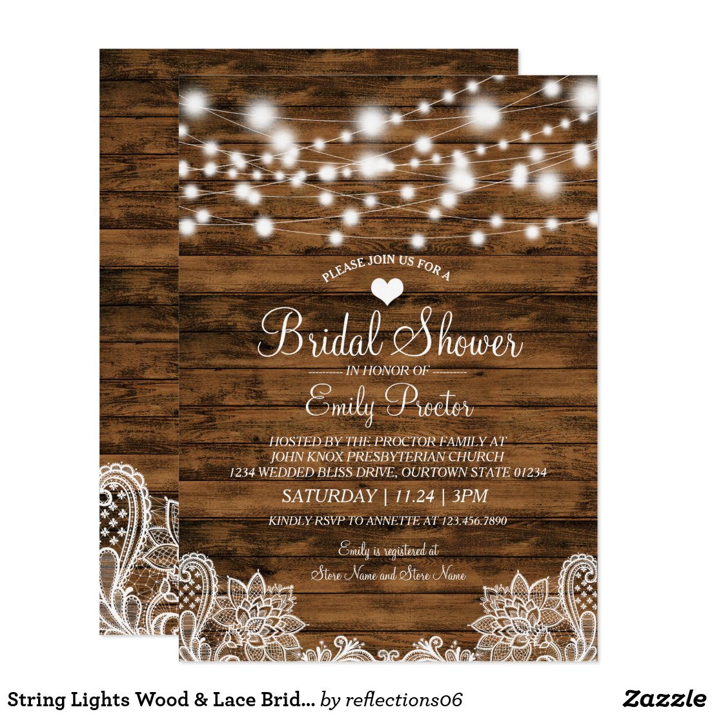 String Lights Wood & Lace Bridal Shower Invitation