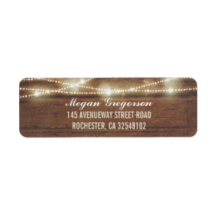 String Lights Wood Rustic Label at Zazzle