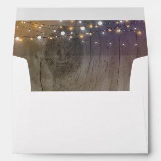 String Lights Wood Rustic Wedding Envelope