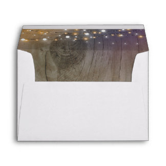String Lights Wood Rustic Wedding Envelope