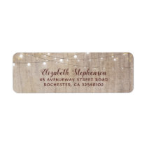String Lights Wood Rustic Wedding Label