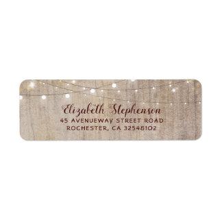 String Lights Wood Rustic Wedding Label