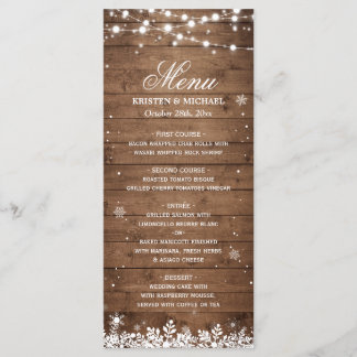 String Lights Wood Rustic Winter Wedding Menu