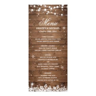 String Lights Wood Rustic Winter Wedding Menu