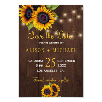String lights wood sunflowers save date wedding card