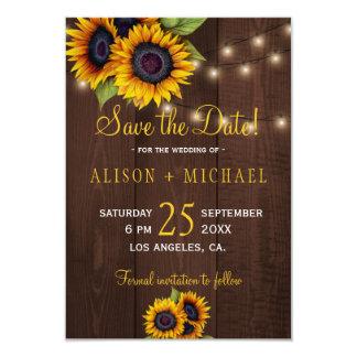 String lights wood sunflowers save date wedding card