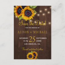 String lights wood sunflowers save date wedding save the date