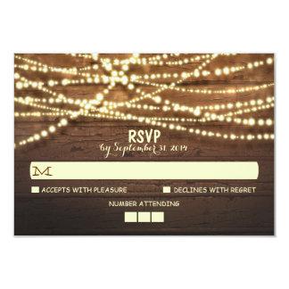 "String Lights Wooden Rustic Wedding RSVP Card 3.5"" X 5"" Invitation Card"