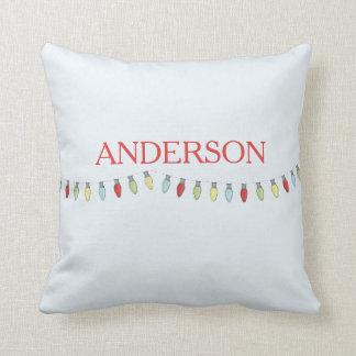 String of Christmas Lights Editable Pillow