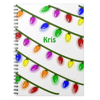 String of Christmas Lights Personalized Notebook