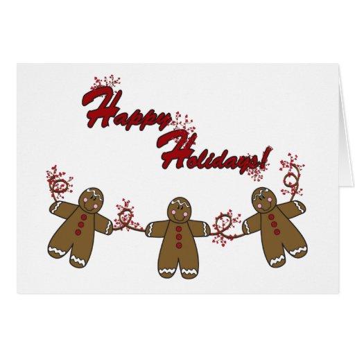 String of Gingerbreadmen Greeting Card