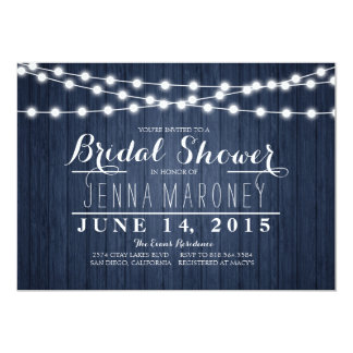 String of Glowing Lights Blue Back Bridal Shower 5x7 Paper Invitation Card