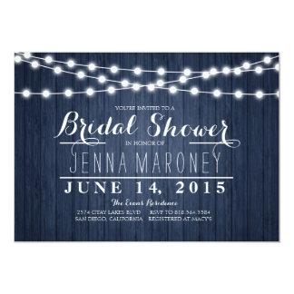 String of Glowing Lights Blue Back Bridal Shower Card