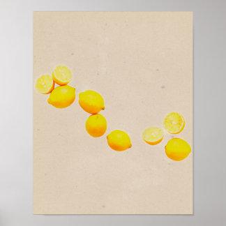 String of Lemons On Vintage Background Poster