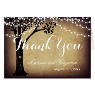String of Light Oak Tree Wedding Thank You Cards