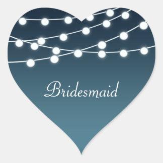 String Of Lights Aglow Romantic Wedding Heart Sticker