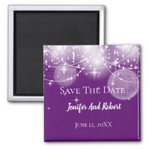 String of lights and stars wedding Save the Date Magnet