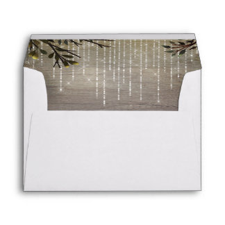 String of Lights and Tree Branches Wedding Envelope