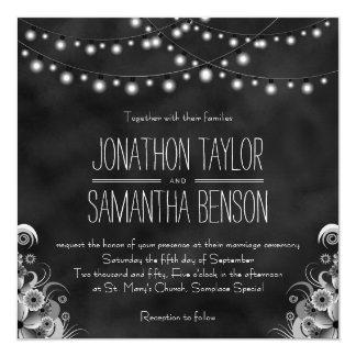 String Of Lights Black Chalkboard Wedding Invites