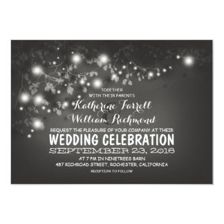 String Of Lights Black & White Wedding Invite