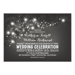 String Of Lights Black & White Wedding Invite 5