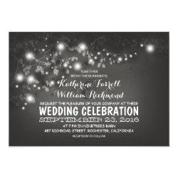 String Of Lights Black & White Wedding Invite 5