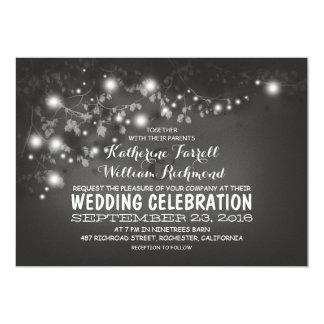 "String Of Lights Black & White Wedding Invite 5"" X 7"" Invitation Card"