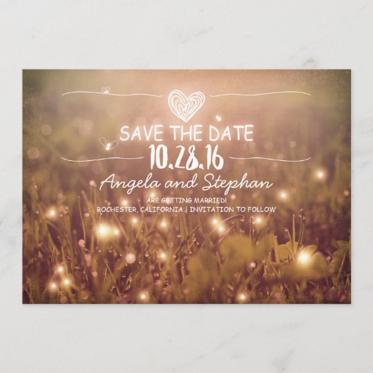 String Of Lights Blush Rustic Save The Date Cards Zazzle Com