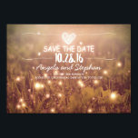 """string of lights blush rustic save the date cards<br><div class=""""desc"""">Romantic modern and rustic save the date card with fireflies</div>"""