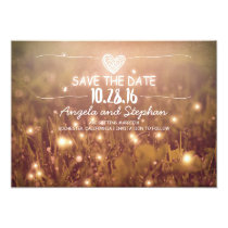 string of lights blush rustic save the date cards