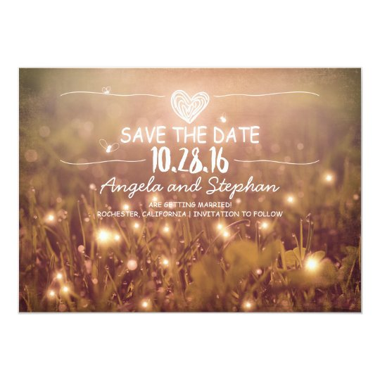 string of lights blush rustic save the date cards | Zazzle