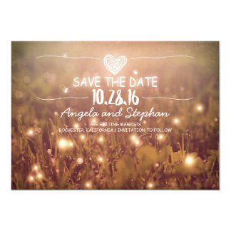 "string of lights blush rustic save the date cards 5"" x 7"" invitation card"