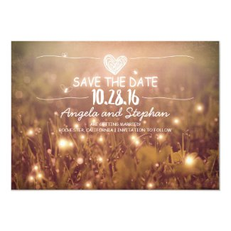 """string of lights blush rustic save the date cards 5"""" x 7"""" invitation card"""