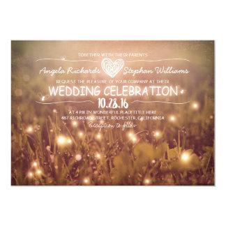 "string of lights blush rustic wedding invitation 5"" x 7"" invitation card"