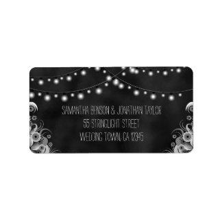 String Of Lights Chalkboard Medium Wedding Labels