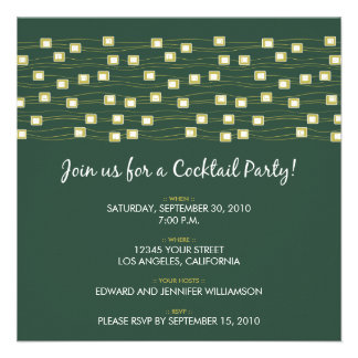 String of Lights Cocktail Party Invitation (green)