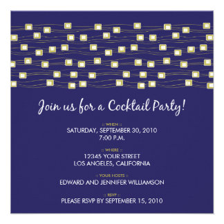String of Lights Cocktail Party Invitation (navy)