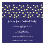 """String of Lights Cocktail Party Invitation (navy) 5.25"""" Square Invitation Card"""