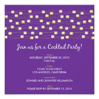 String of Lights Cocktail Party Invite (purple)