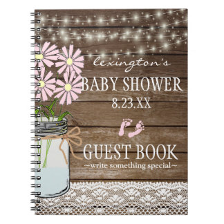 String Of Lights Country Baby Shower Guestbook | Notebook