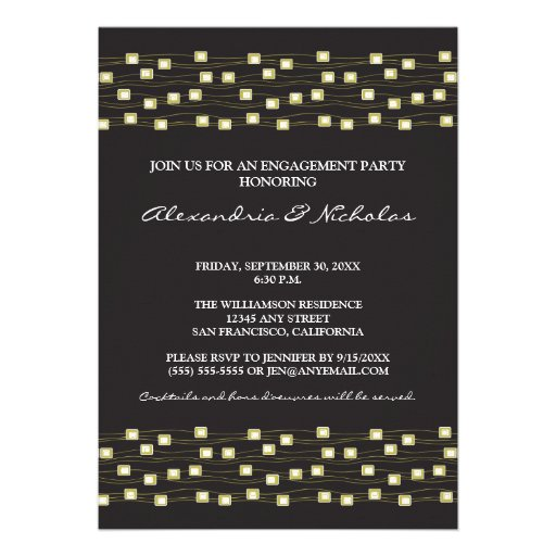 String of Lights Engagement Party Invite (ebony)