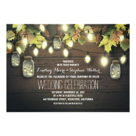 string of lights fall mason jar wedding invitation personalized invites