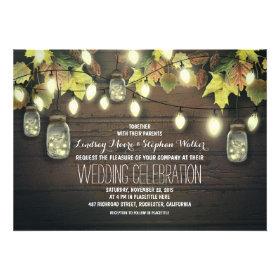 string of lights fall mason jar wedding invitation personalized invites