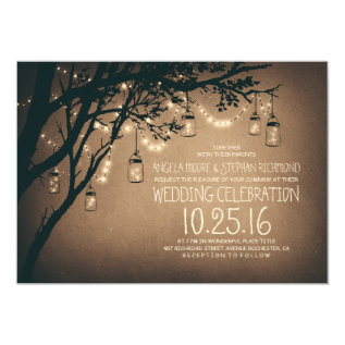string of lights mason jars vintage wedding card at Zazzle