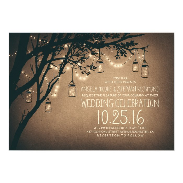 string of lights mason jars vintage wedding card Zazzle