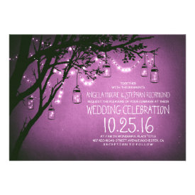string of lights mason jars vintage wedding invitation