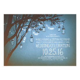 string of lights mason jars vintage wedding announcement